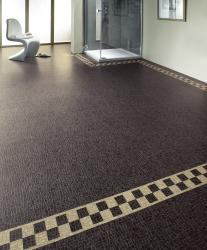 Stylish tiled Karndean flooring in large, modern bathroom