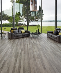 Very stylish high-end living space with dramatic Karndean flooring